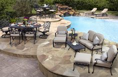 Tropez Collection Features Both A Seating And Dining Set Made Of Durable Cast Aluminum With Sunbrella Fabric Cushions Available At Hicks Nurseries