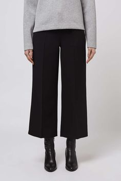 Refresh your wardrobe staples with this wool blend trousers by Boutique. Shaped with wide, cropped legs, style with ankle boots and a plain tee for casual chic. By Boutique. #Topshop
