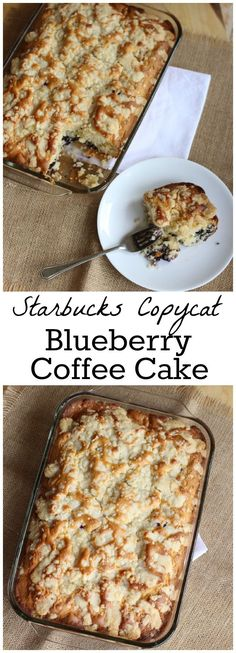 Copycat Starbucks Blueberry Coffee Cake - A healthier and lighter on fat & calories version! from LauraFuentes.com