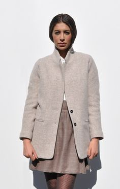 VANESSA BRUNO ATHÉ WOOL COAT, HEATHER GREY  Classic, structured wool twill coat with quilted cotton lining. Welt pockets at hips.