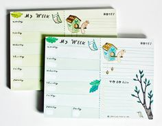 Forest Animal Weekly Planner Notepad