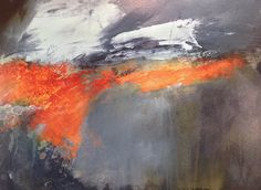 Fire and Earth. Mari French 2014. Acrylic/mixed media on board. www.marifrench.com. #abstract landscape #grey #orange #dramatic