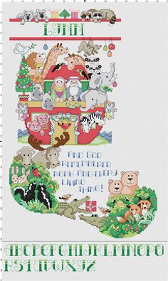 Two by Two Animal Christmas Stocking Counted Cross Stitch Pattern