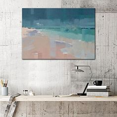 Inject coastal style in your space with the abstract Beach Serene Painted Canvas Wall Art from United Interiors.