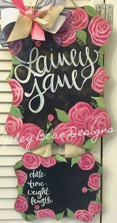 Items similar to Floral Baby Girl Hospital Door Hanger on Etsy Hospital Door Hangers, Baby Door Hangers, Wooden Door Hangers, Birth Announcement Sign, Birth Announcements, Diy Cutting Board, Kids Wood, Wood Crafts, Design
