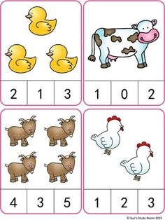 Count and Clip Cards: Farm Animals farm animals Farm Animals Count and Clip Cards (Numbers Preschool Learning Activities, Preschool Lessons, Preschool Activities, Preschool Curriculum Free, Camping Activities, Farm Animals Preschool, Numbers Preschool, Teaching Numbers, Printable Preschool Worksheets