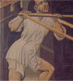Camisa  y bragas holgadas. 1420-23. Retablo de San Jorge, Gonzalo Peris, Museo Municipal de Jerica, Castellón (detalle)