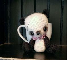 OOAK Mini Anime Thread Artist pANDA Bear Lilac by SammiBears