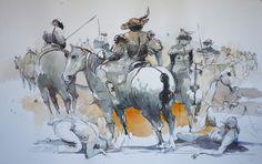 "watercolour on Arches paper, 25 "" x 40 "" (103 x 64 cm)"