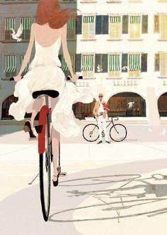 "shear-in-SPUH-rey-shuhn ""Tadahiro Uesugi Bongénie Grieder Digital"" Bicycle Illustration, Illustration Girl, Background Drawing, Kunst Poster, Bicycle Art, Cycling Art, Animation, Illustrations And Posters, Illustrators"