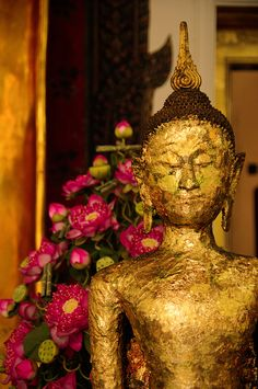 Laos, golden Buddha with lotus flowers