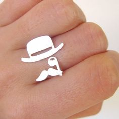 Mr. Mustache with Top Hat and Monocle - Handmade Silver Ring