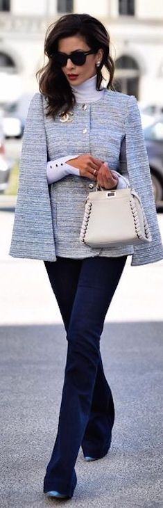 Women's fashion | Flared pants with Coco Chanel chic blazer
