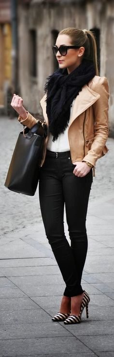 white t, black skinny pants, tan leather jacket, black scarf, statement pumps, oversized black purse