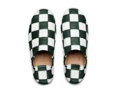 Acne Studios Agata patch white/green Chessboard patchwork babouche