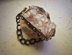 Raw Quartz & Amethyst Crystal Cluster Druzy Chain Bracelet by CrystalDestinies on Etsy
