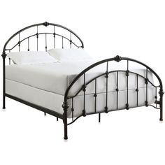 Verona Home Jaime Arched Metal Queen Bed Frame with Caster Knots (€430) ❤ liked on Polyvore featuring home, furniture, beds, decor, room, queen metal beds, queen headboard, queen head board, metal headboards and black metal bed