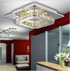 Modern Square LED Crystal Ceiling lights chandeliers 1 Head Aisle light 3894-1HC
