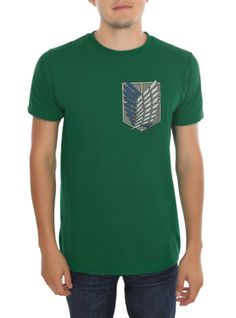 Green T-shirt from Attack On Titan with Scouting Legion shield designs on front & back.