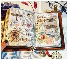 Collage in traveler's notebook art journaling art journal pa Art Journal Pages, Junk Journal, Art Journaling, Collages, Notebook Art, Glue Book, Mixed Media Journal, Fabric Journals, Art Journal Techniques