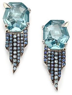 Alexis Bittar Fine Sky Marquis Blue Quartz, Sapphire & Sterling Silver Fringe Earrings