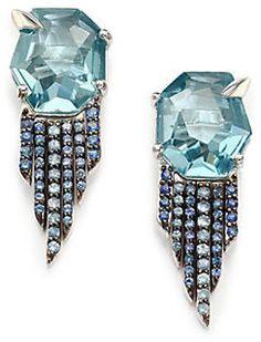Alexis Bittar Fine Sky Marquis Blue Quartz, Sapphire & Sterling Silver Fringe Earrings