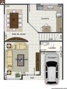 Planta de Sobrado - 4 Quartos - 130.5m² - Monte Sua Casa Japan House Design, Sims 4 House Design, Sims House, Tiny House Design, Duplex House Plans, Small House Plans, House Floor Plans, Indian House Plans, Model House Plan