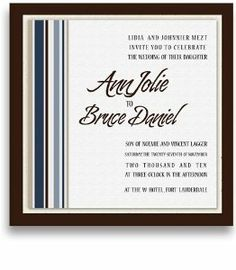 25 Square Wedding Invitations - Cool Stripes by WeddingPaperMasters.com. $168.75. Now you can have it all! We have created, at incredible prices & outstanding quality, more than 300 gorgeous collections consisting of over 6000 beautiful pieces that are perfectly coordinated together to capture your vision without compromise. No more mixing and matching or having to compromise your look. We can provide you with one piece or an entire collection in a one stop shopping experience...