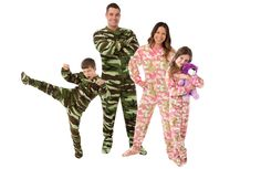 Family Matching Pajamas Matching Footed Pajama Sets : Adult Onesies : Infant, Youth & Adult Sizes Awesome Fleece Footie Pajamas, warm & durable, they will not pill, shrink or fade and so comfy you will want to wear them all day.  Green Camouflage and Pink Camouflage from Infant 18M through Adult XL   #bigfeetpjs