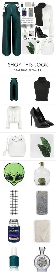 """Faux fur jacket"" by bartivana ❤ liked on Polyvore featuring Brandon Maxwell, Yves Saint Laurent, Mansur Gavriel, Dot & Bo, Agent 18, Yankee Candle, Hudson Park, Essie and Boadicea the Victorious"