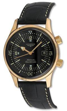 men watches Longines Legend Diver Automatic 18kt Rose Gold Mens Strap Watch 30mm L3.674.8.50.0 Shop to buy