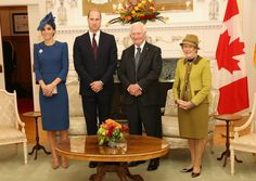 The Duke and Duchess posed for a picture with David Johnston and his wife Sharon Johnston at Government House .