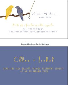 Chloe + Isabel business cards, birds, design, fashion, jewelry