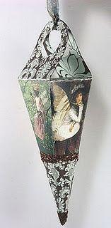 Gail Schmidt ~ Cone using Blue & Brown Damask Decorative Paper