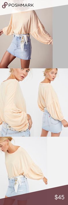 """Free People New Long Bell Sleeves Tee NWT New Free People ultra comfy cotton tee with a relaxed fit featuring a pretty puff bell sleeves with cuff. NWT - Bust 58"""" length 22"""" sleeves length 13.5"""" Free People Tops Tees - Long Sleeve"""