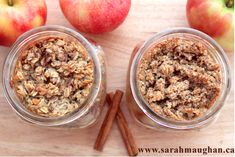 Individual apple crumble (with quinoa or oat crumble) in a mason jar #recipe #glutenfree