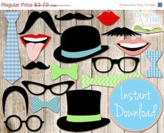 20% OFF SALE INSTANT Download - Photo booth Props Printable - Moustache, Lips, Glasses, Ties, Bow ties & Hats $2.96