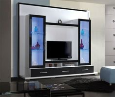 Amish Flat Screen TV Wall Unit Entertainment Center Modern Living Room Wall Mount TV Design Ideas - love the color blocking!