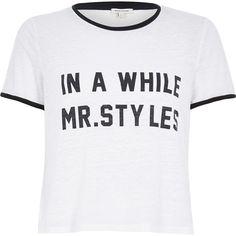 River Island White Mr Styles slogan black trim t-shirt featuring polyvore, fashion, clothing, tops, t-shirts, shirts, blusas, sale, shirts & tops, burnout t shirt, pattern shirts, burnout tee and white t shirt