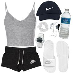 A fashion look from December 2015 featuring Glamorous tops, NIKE activewear shorts and NIKE sandals. Browse and shop related looks.