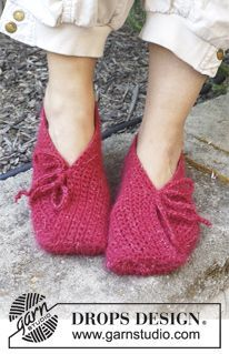 "Fuego - Crochet DROPS slippers in ""DROPS ♥ YOU #4"" or ""Nepal"". - Free pattern by DROPS Design"