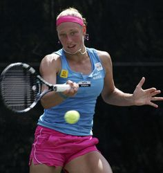 Yanina Wickmayer of Belgium watches her shot to Yaroslava Shvedova of Kazakhstan at the Family Circle Cup tennis tournament in Charleston, South Carolina, April 4, 2012.