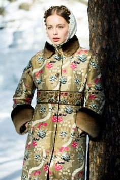 Russian beauty. Russian girls. Winter fashion. Traditional floral pattern. Russian style by Anna Bakhareva