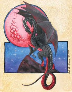 Rise of the Hunters Moon by Carla Morrow. Love the dragon's colours! Dragon Comic, Fantasy Dragon, Black Dragon, Red Dragon, Fantasy Images, Fantasy Art, Navratri Wallpaper, Dragon's Lair, Year Of The Dragon