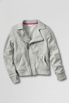 Girls' Long Sleeve French Terry Moto Jacket from Lands' End