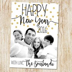 New Years card - photo new year card - custom new Years card - calligraphy - GOLD GLITTER confetti by peachymommy on Etsy