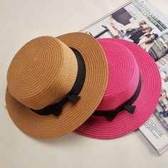 1145e506 Ladybro 2017 Summer Women Boater Beach Hat Female Casual Panama Hat Lady  Brand Classic Bowknot Straw Flat Sun Hat Women Fedora