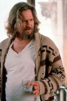 "The Dude.  His hair is looking pretty clean here.  Note empty ""Caucasian"" glass."
