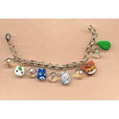 bracelet, Totoro inspired ghibli kawaii cute lolita manga anime japan... ($26) ❤ liked on Polyvore featuring jewelry, bracelets, accessories, animal jewelry, beading jewelry, charm jewelry, bead charms and clay charms