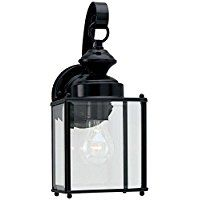 Sea Gull Lighting 8457-12 Jamestowne One-Light Outdoor Wall Lantern with Clear Beveled Glass Panels, Black Finish